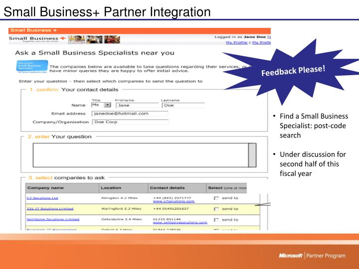 Small Business+ Partner Integration