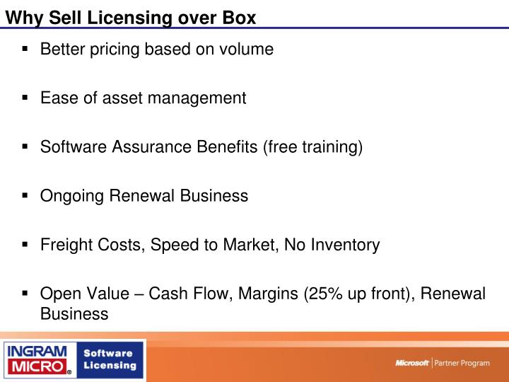 Why Sell Licensing over Box