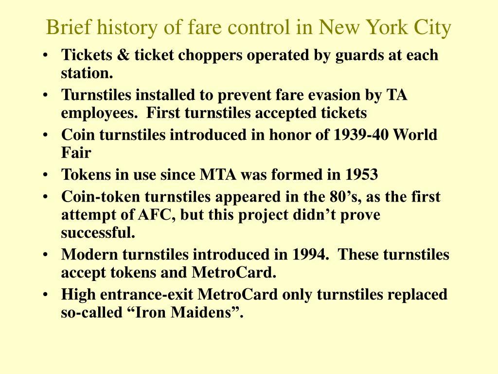 Brief history of fare control in New York City