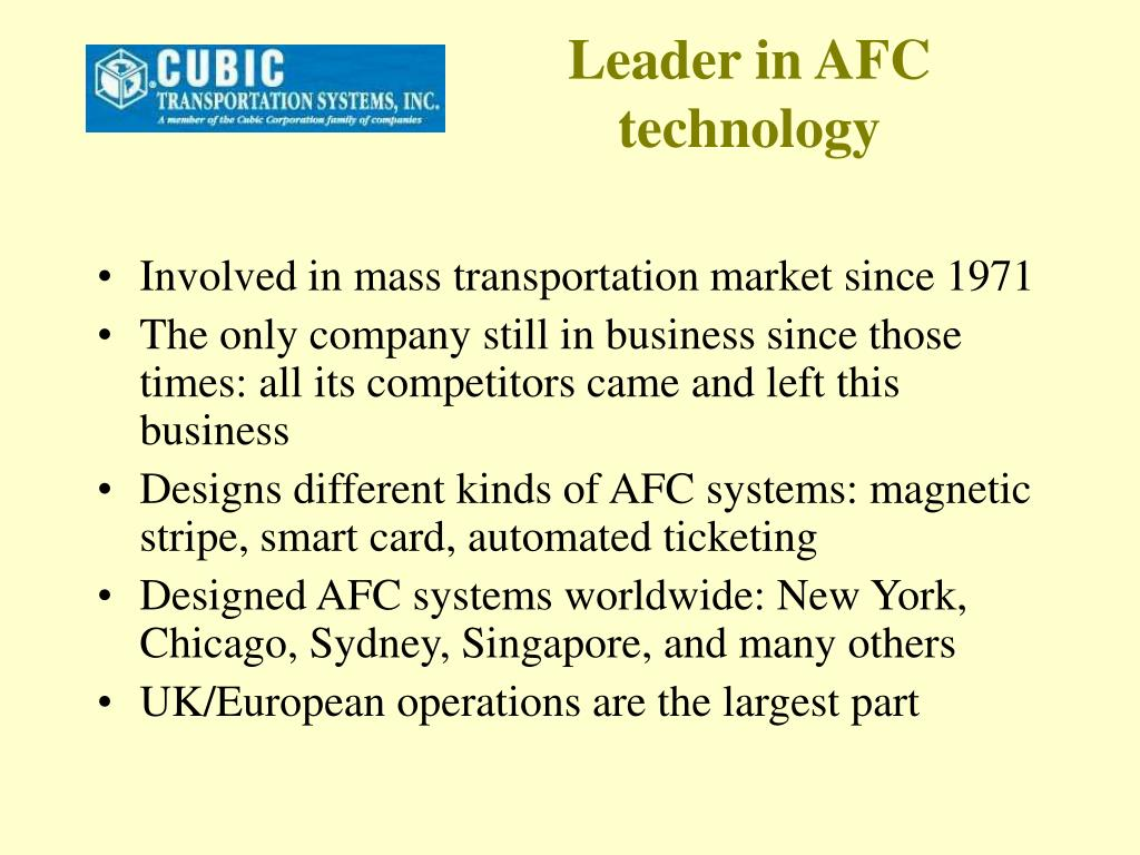 Leader in AFC technology