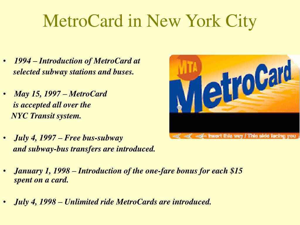 MetroCard in New York City