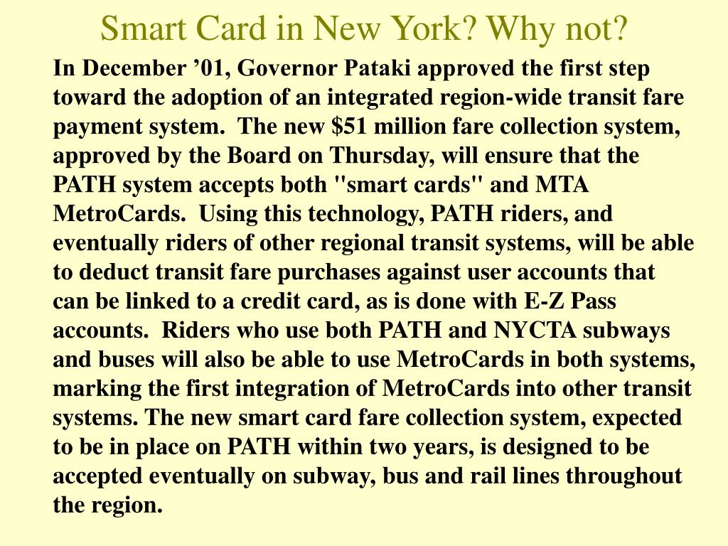 Smart Card in New York? Why not?
