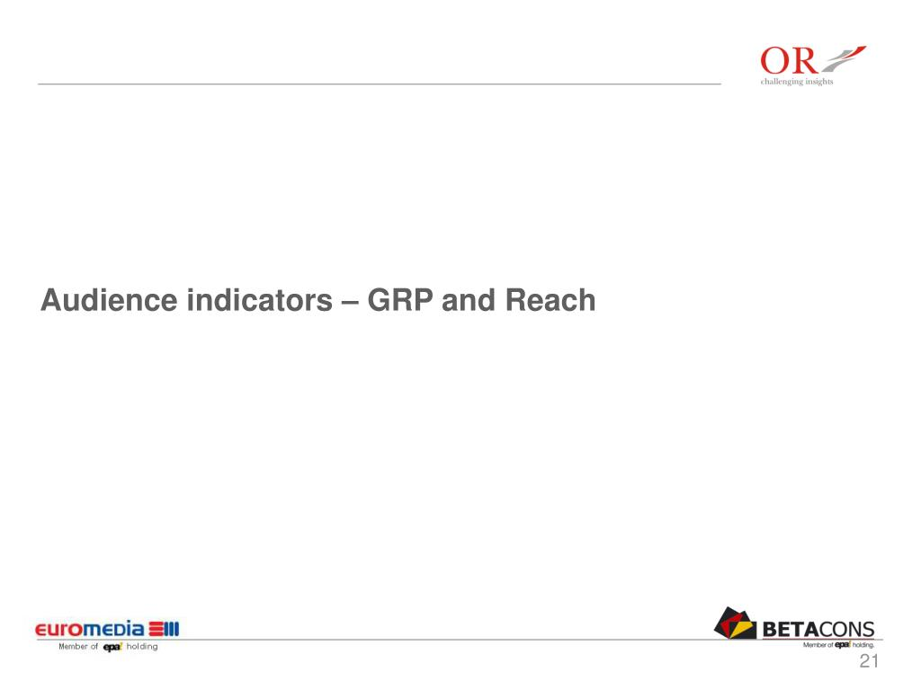 Audience indicators – GRP and Reach