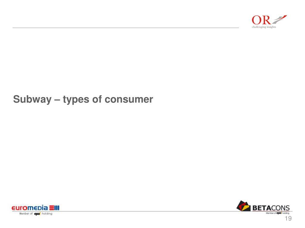 Subway – types of consumer