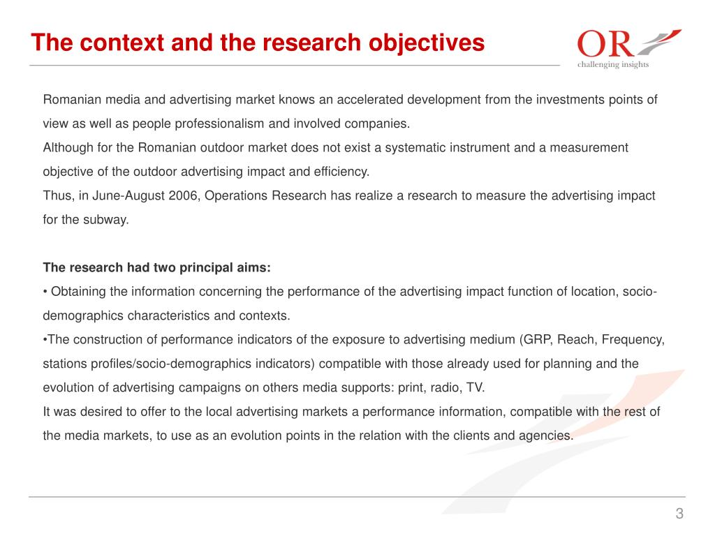 The context and the research objectives