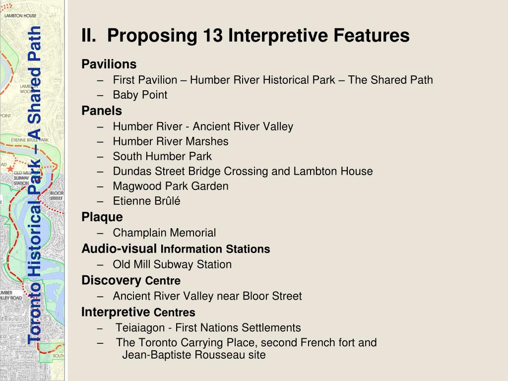 II.  Proposing 13 Interpretive Features
