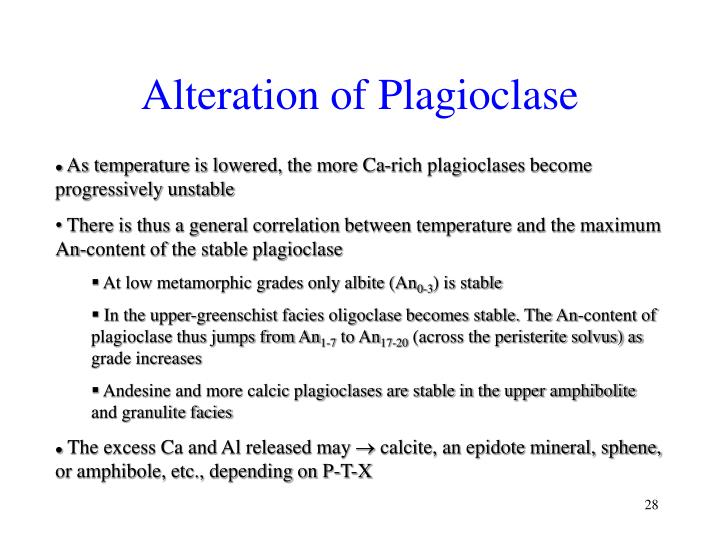Alteration of Plagioclase