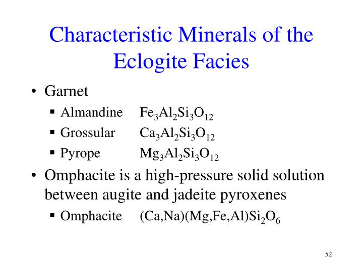 Characteristic Minerals of the Eclogite Facies