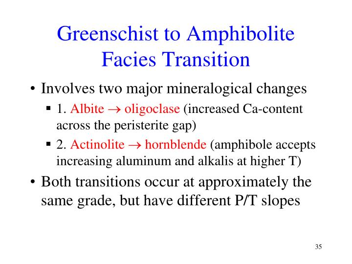 Greenschist to Amphibolite Facies Transition