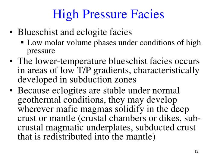 High Pressure Facies