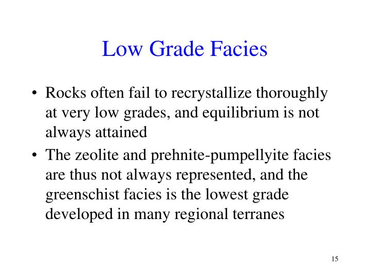 Low Grade Facies