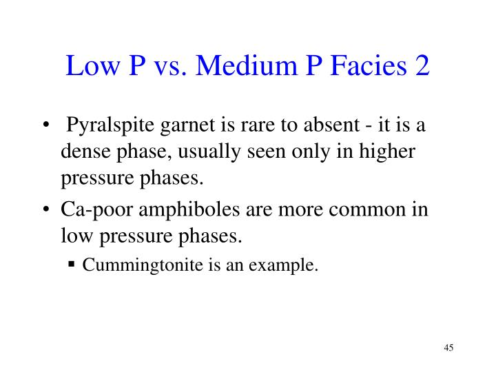 Low P vs. Medium P Facies 2
