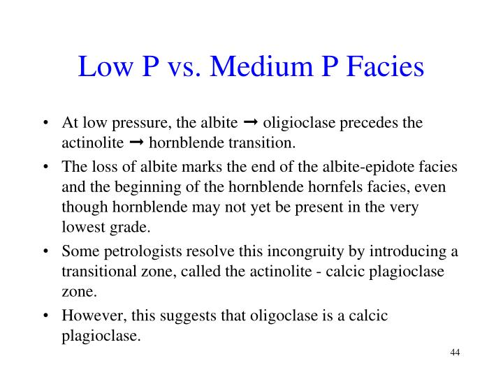 Low P vs. Medium P Facies
