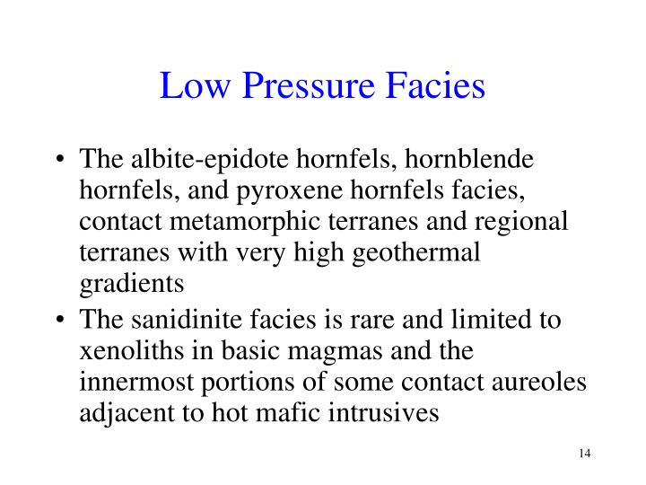 Low Pressure Facies