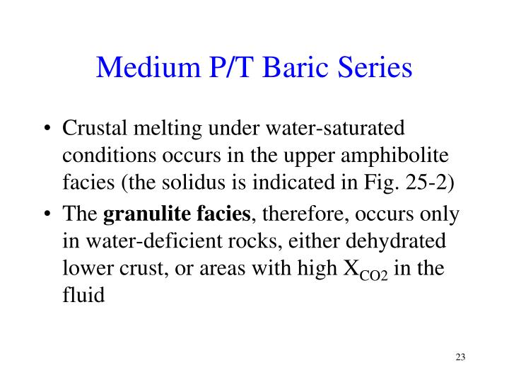 Medium P/T Baric Series