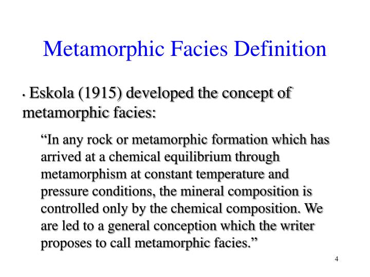 Metamorphic Facies Definition