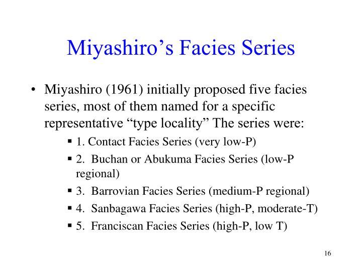 Miyashiro's Facies Series