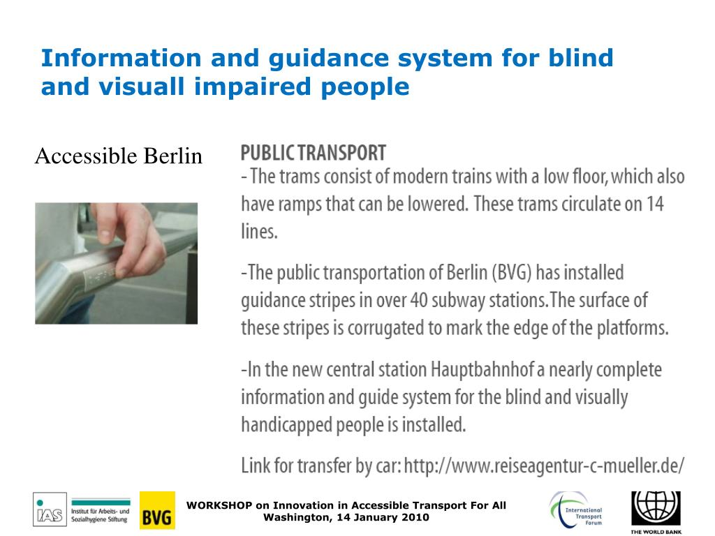 Information and guidance system for blind and visuall impaired people