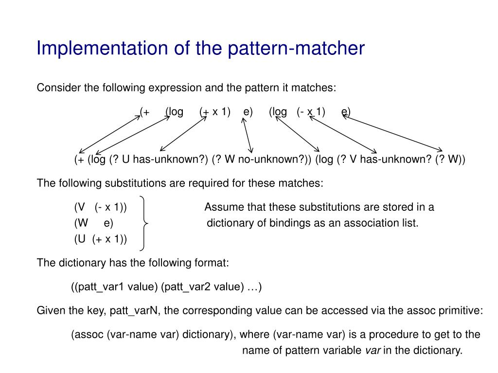 Implementation of the pattern-matcher