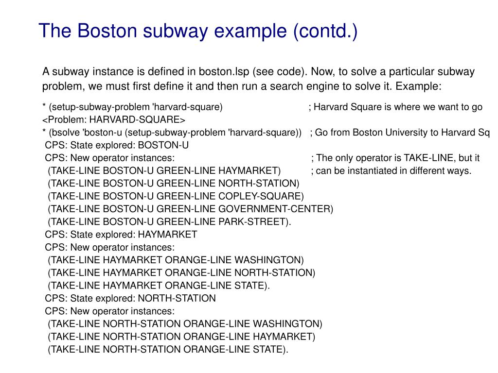 The Boston subway example (contd.)
