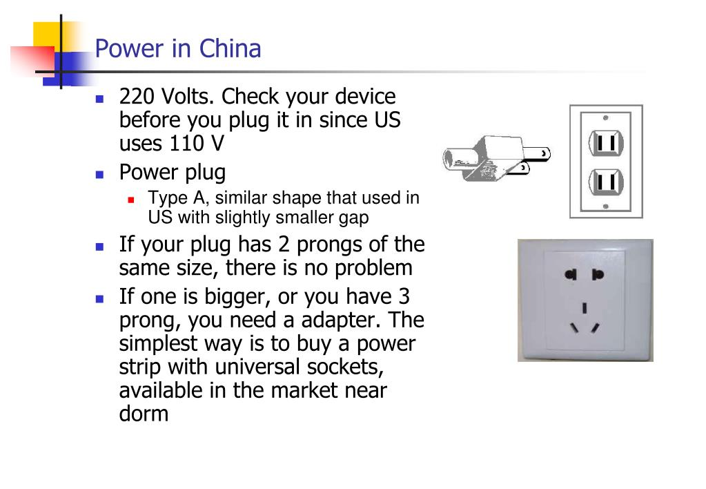 220 Volts. Check your device before you plug it in since US uses 110 V