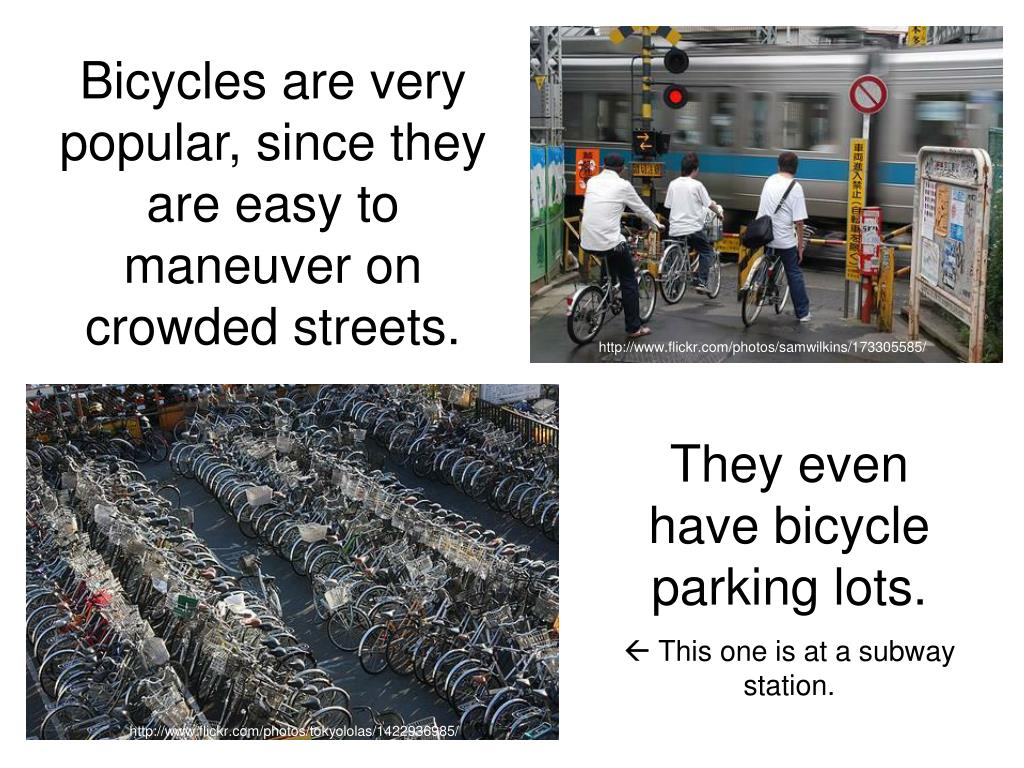 Bicycles are very popular, since they are easy to maneuver on crowded streets.