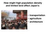 how might high population density and limited land affect japan s