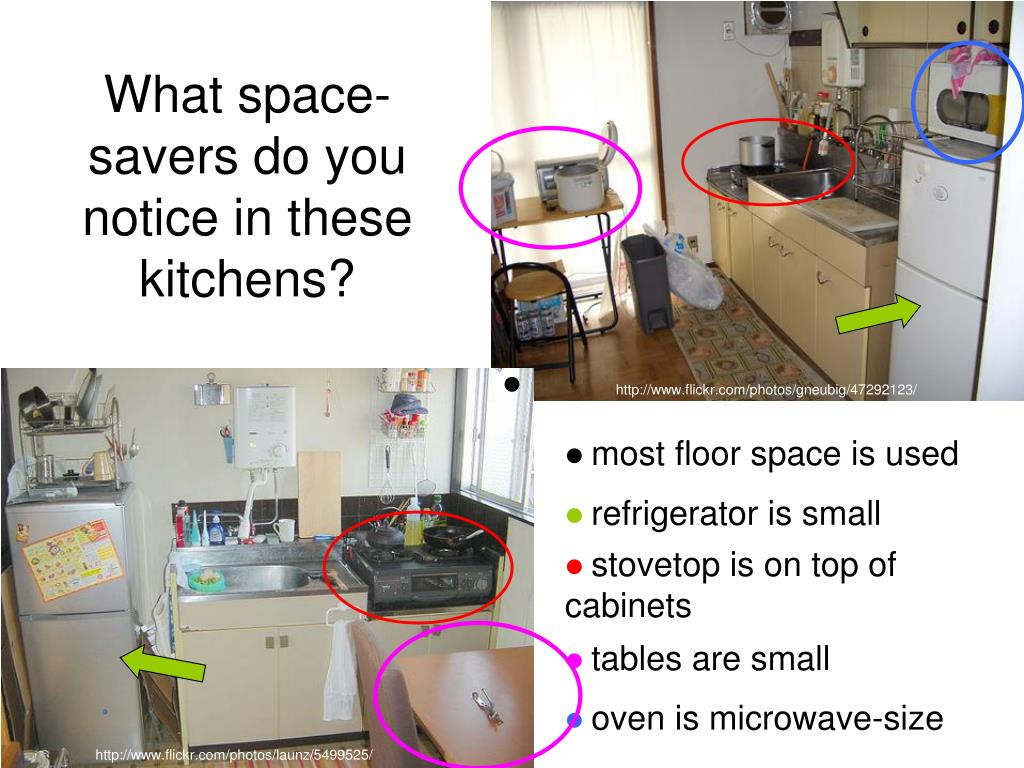 What space-savers do you notice in these kitchens?
