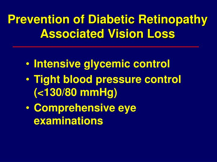 Prevention of Diabetic Retinopathy Associated Vision Loss