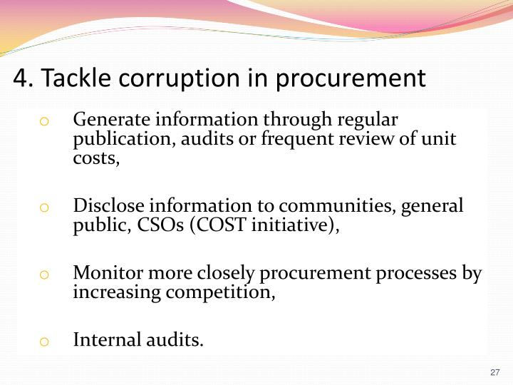 4. Tackle corruption in procurement