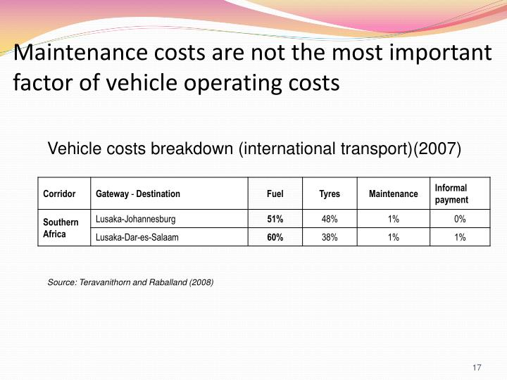 Maintenance costs are not the most important factor of vehicle operating costs