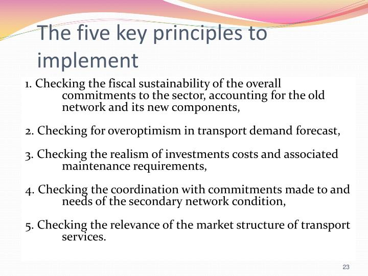 The five key principles to implement