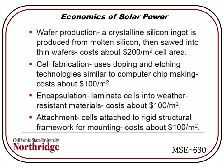 Economics of Solar Power