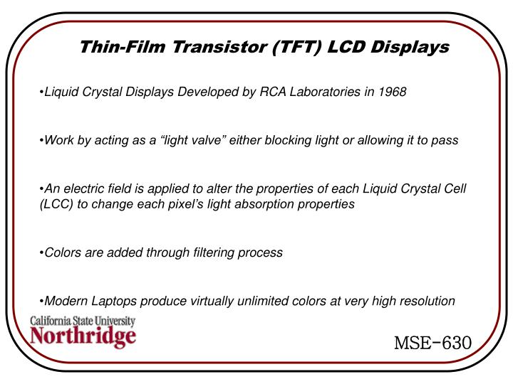 Thin-Film Transistor (TFT) LCD Displays