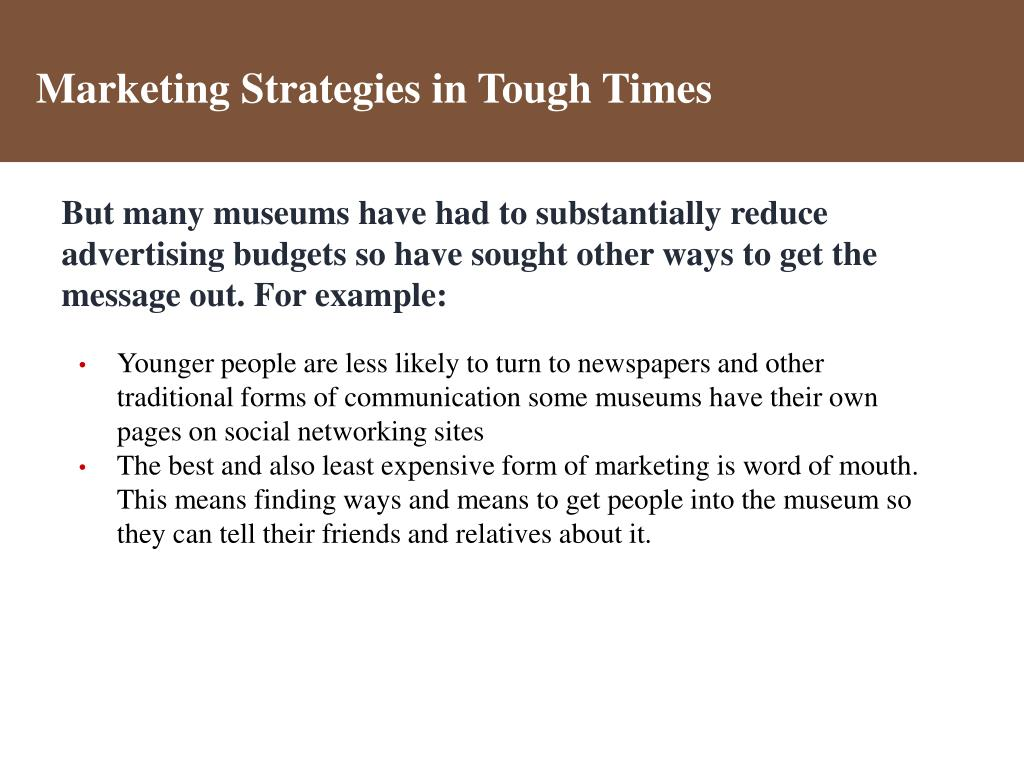 Marketing Strategies in Tough Times