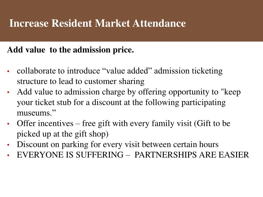 Increase Resident Market Attendance