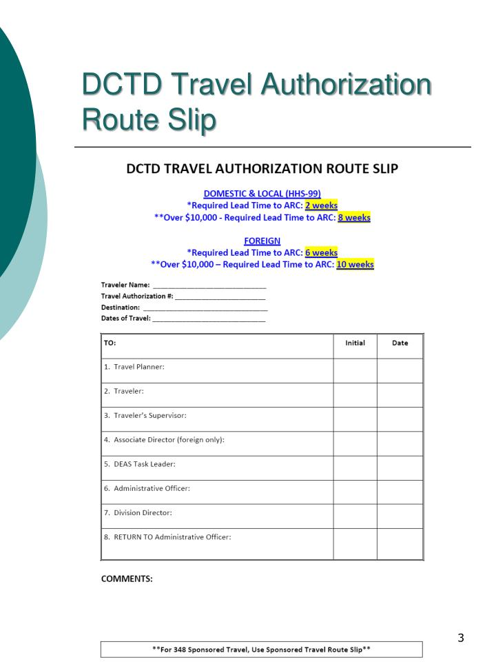 Dctd travel authorization route slip