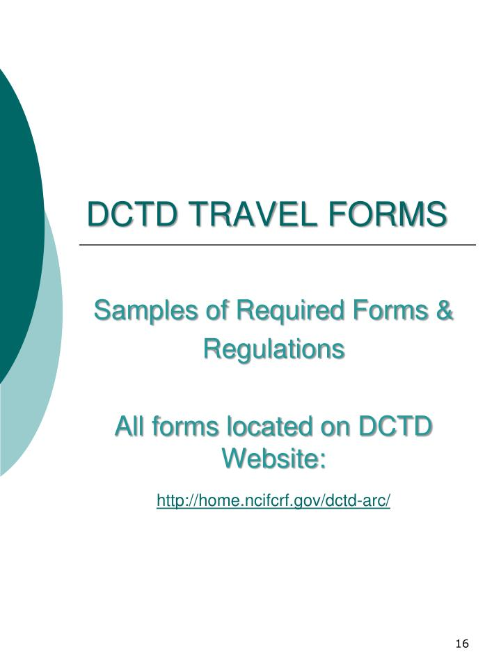 DCTD TRAVEL FORMS