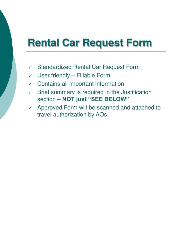 Rental Car Request Form