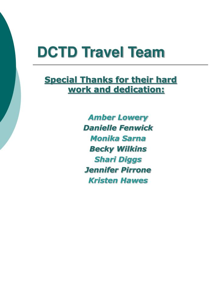 DCTD Travel Team