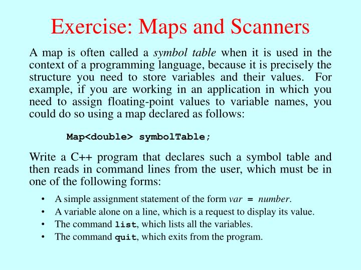 Exercise: Maps and Scanners