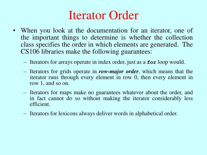 Iterator Order