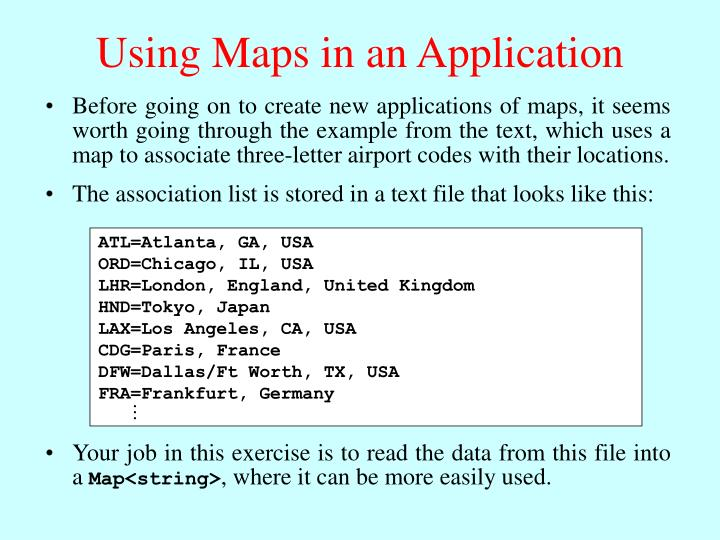 Using maps in an application