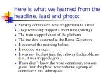 here is what we learned from the headline lead and photo