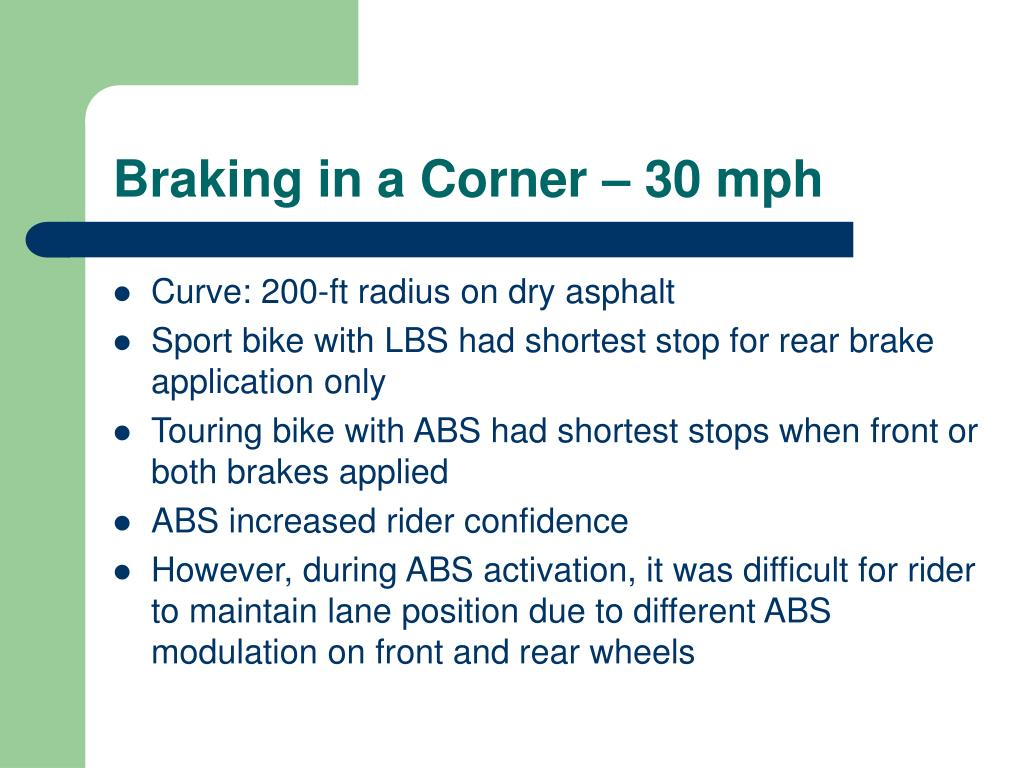 Braking in a Corner – 30 mph