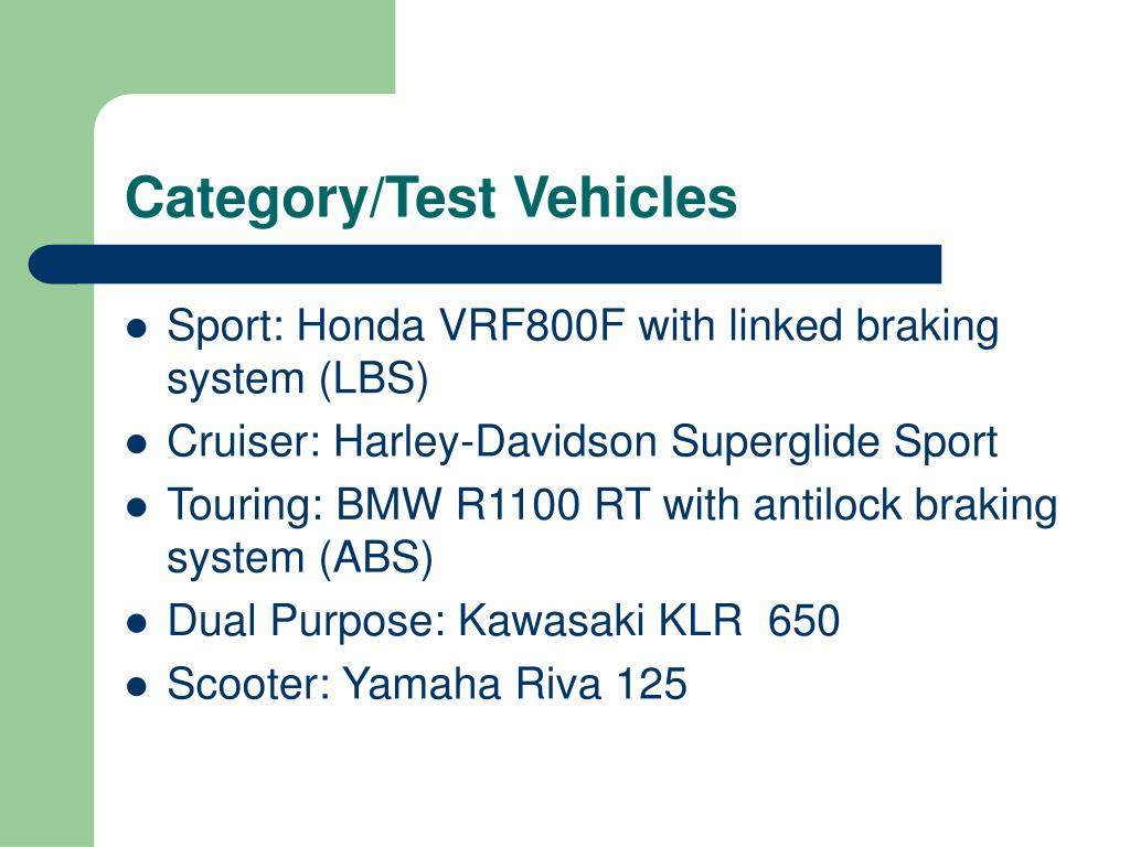 Category/Test Vehicles