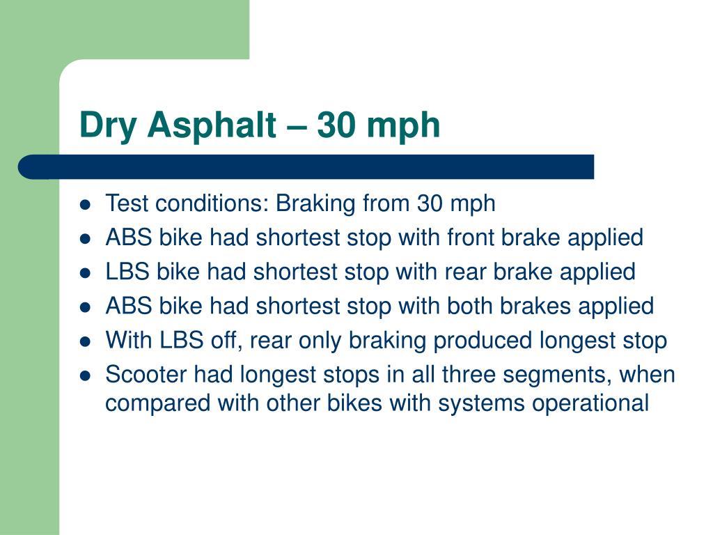 Dry Asphalt – 30 mph