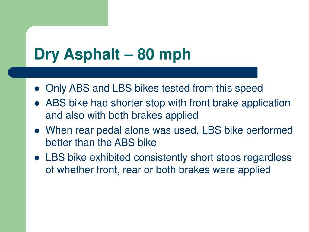 Dry Asphalt – 80 mph