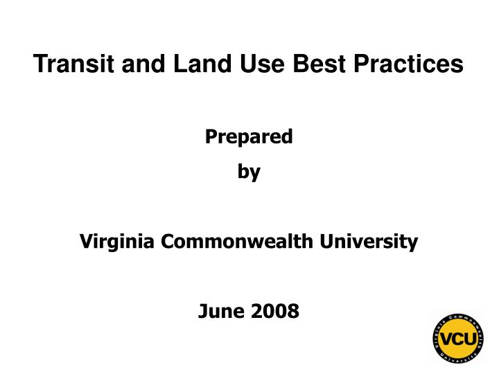 Transit and land use best practices