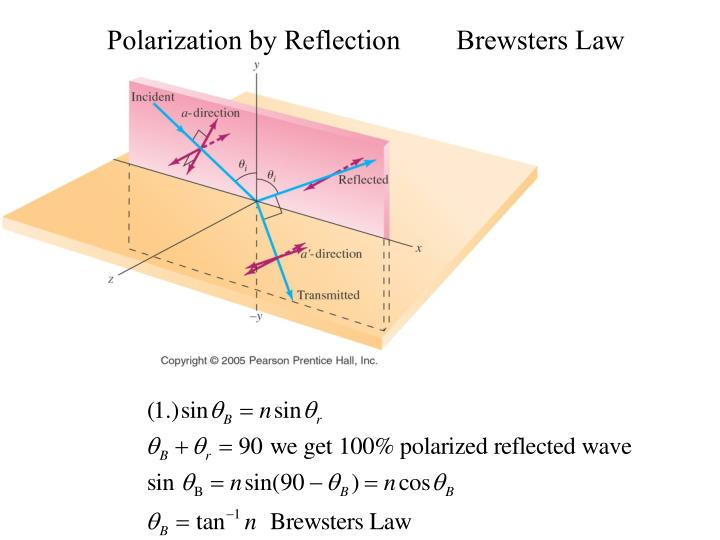 Polarization by Reflection        Brewsters Law